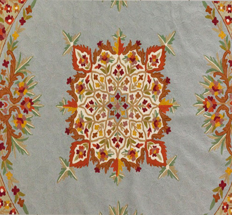 שטיח צמר פרחוני מעוצב עגול מעבודת יד משולב שלל צבעים במגוון גדלים לבחירה - משלוח חינם - תמונה 2