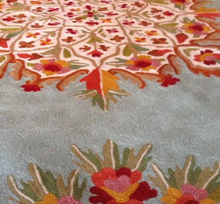 שטיח צמר פרחוני מעוצב עגול מעבודת יד משולב שלל צבעים במגוון גדלים לבחירה - משלוח חינם - תמונה 4