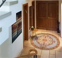 שטיח צמר עגול עבודת יד בצבעי חמרה טורקיז במגוון גדלים לבחירה