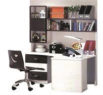 ספריה עם יחידת מגירות וכוננית מדפים מעץ MDF + כסא מחשב איכותי מעץ