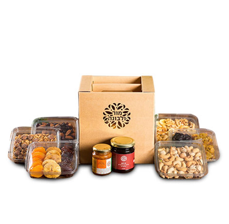 מארז נטע הכולל 5 מגשים משולבים פירות יבשים ואגוזים ושתי צנצנות מור ולבונה
