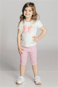 חולצת טריקו קצרה בהדפס פרפר לבנות Kiwi בצבע אופוויט