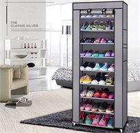 מעמד נעליים עם כיסוי בעל 8 מדפים לאחסון עד 24 זוגות בגוונים לבחירה