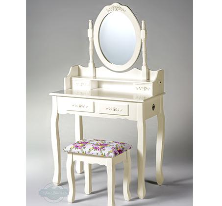 שידת איפור טואלט בעיצוב וינטג' 4 מגירות, עם מראה מתכווננת וכיסא תואם במתנה! - תמונה 4