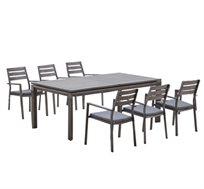 סט אוכל לגינה בצבע אפור הכולל שולחן ו- 6 כסאות