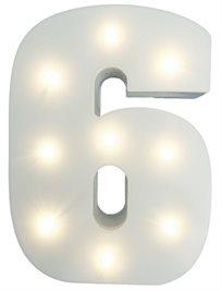 מנורת לילה עם תאורת לד LED מעוצבת בצורת הספרה 6