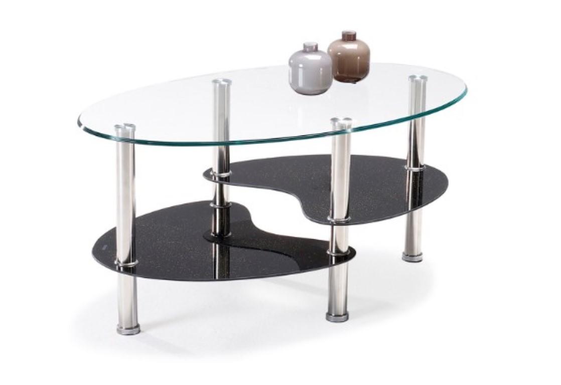 שולחן סלון זכוכית דגם DARK שילוב ניקל וזכוכית מחוסמת חזקה GAROX בשני גוונים - תמונה 2