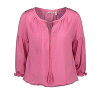 חולצת בוהו ורודה לנשים Punt Roma עם חוטי גדילים בצווארון בצבע ורוד