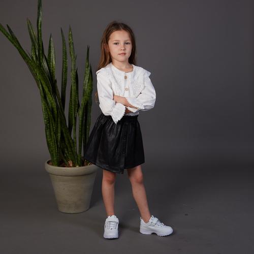 חצאית Oro לילדות (מידות 2-7 שנים) שחור עור
