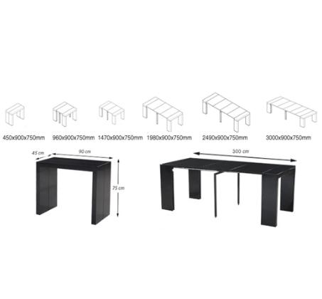 שולחן מודולרי נפתח ל-3 מטרים המותאם ל-12 סועדים מבית BRADEX - תמונה 3