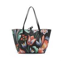 Desigual Bols Kora Capri - תיק טרפז גדול דו צדדי ומתהפך עם הדפס פרחים