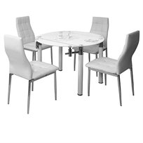פינת אוכל עגולה מעוצבת מזכוכית וניקל, בעיטור מעודן - כולל 4 כסאות בריפוד דמוי עור איכותי ביותר!