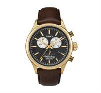 שעון כרונוגרף לגברים עם תאורה ותאריכון בצבע זהב ורצועה חומה