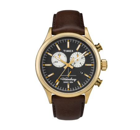 שעון כרונוגרף לגברים עם תאורה ותאריכון - זהב ורצועה חומה