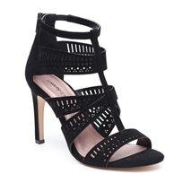Seventy Nine - סנדל עקב לנשים עם רצועות מחוררות בצבע שחור