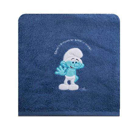 """מגבת ילדים בצבע ג'ינס עם איור דרדסים 100X120 ס""""מ ורדינון"""
