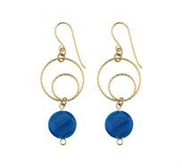 עגילים תלויים ציפוי זהב חישוקים ואבן קריסטל כחולה
