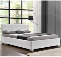 מיטה רחבה לנוער בריפוד דמוי עור לבן עם ארגז מצעים מעץ דגם לורי HOME DECOR