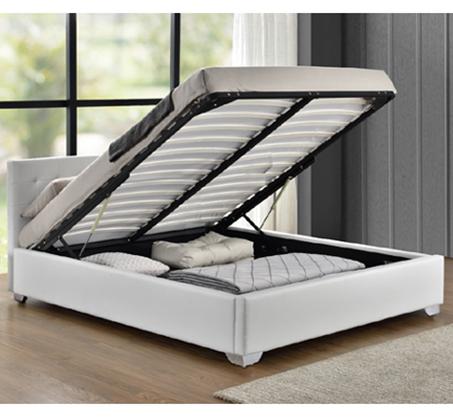 מיטה רחבה לנוער בריפוד דמוי עור לבן עם ארגז מצעים מעץ דגם לורי HOME DECOR - תמונה 2