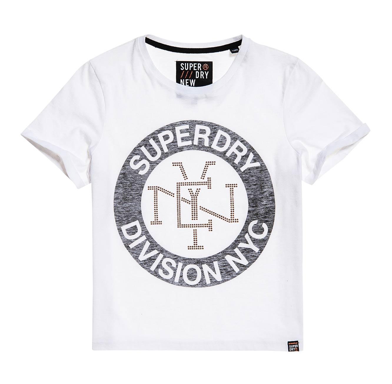 טי שירט Superdry Stud Boxy לנשים בצבע לבן