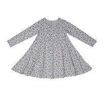 שמלת ג'רזי מודפסת ומסתובבת - אפור עם לבבות