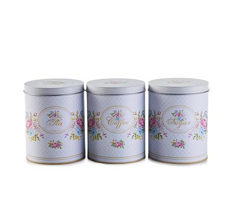 סט כלי קפה תה וסוכר Arcosteel בעיצוב פרחוני