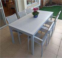 שולחן נפתח עם 6 כסאות לגינה מאלומיניום בצבעים לבחירה
