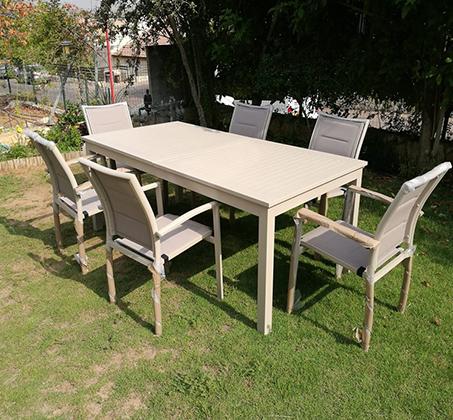 שולחן נפתח לחצר ולמרפסת כולל 6 כסאות עשוי אלומיניום עמיד במיוחד לתנאי החוץ בצבעים לבחירה - תמונה 2