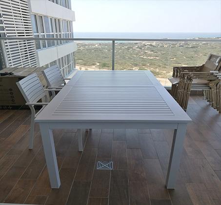 שולחן נפתח לחצר ולמרפסת כולל 6 כסאות עשוי אלומיניום עמיד במיוחד לתנאי החוץ בצבעים לבחירה - תמונה 4