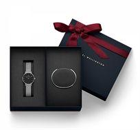 סט שעון יד לאישה Classic Petite Sterling Black + צמיד קשיח קטן - כסף