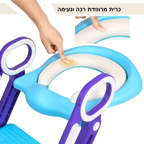 ישבנון מרופד לפעוט עם מונע החלקה ומונע התזה - כחול/סגול - תמונה 5