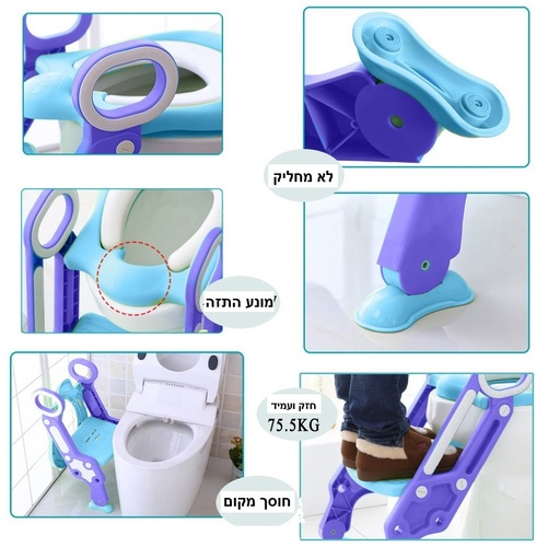 ישבנון מרופד לפעוט עם מונע החלקה ומונע התזה - כחול/סגול - תמונה 4