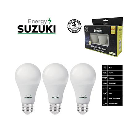 מארז 3 נורות LED 12W עבה E27 בצבעים לבחירה SUZUKI Energy - תמונה 2