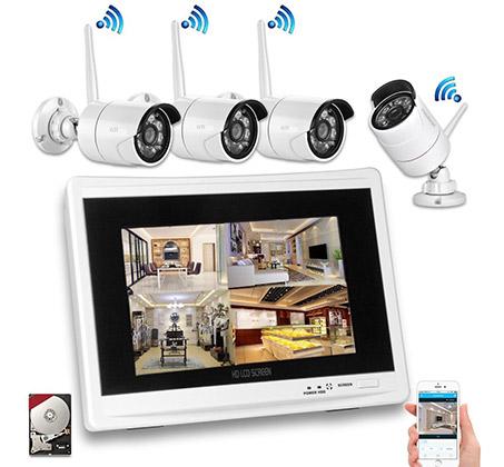 מצטיין מערכת אבטחה אלחוטית HD DVR עם 4 מצלמות אלחוטיות + מסך מובנה כולל HC-19