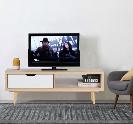 מזנון טלוויזיה בעיצוב מודרני בעל מגירה ומדף דגם לוקסן