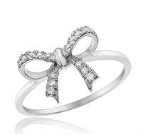 טבעת פפיון משובצת יהלומים 14 קרט זהב לבן