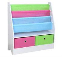 ארגונית ספרים לחדרי ילדים משולבת 2 מגירות לאחסון מוגן של הצעצועים