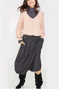 חצאית בגזרה מתחת לברך PROMOD לנשים - אפור כהה