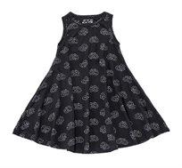 שמלה מסתובבת בהגזמה ללא שרוולים בצבע שחור בשילוב הדפס בייגלה
