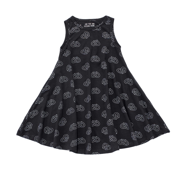 שמלה מסתובבת בהגזמה - שחור בשילוב הדפס בייגלה