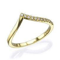 """טבעת יהלומים """"וי"""" 0.12 קראט זהב צהוב"""