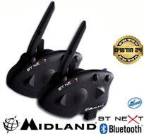 """זוג דיבוריות Bluetooth A2DP לאופנועים, רדיו FM, שיחות אינטרקום ל-6 רוכבים עד 1.6 ק""""מ MIDLAND BT Next"""