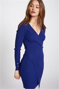 שמלת סריג א-סימטרית צמודה MORGAN - כחול