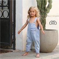 אוברול Oro לילדות (מידות 6 חודשים- 4 שנים) ג'ינס תכלת- יוניסקס