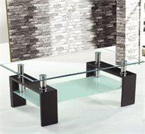 שולחן סלוני עשוי זכוכית שקופה וחלבית למראה צעיר ומודרני של הסלון דגם QUIBE מבית GAROX - משלוח חינם