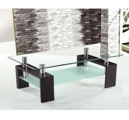 שולחן סלון מזכוכית חלבית ושקופה דגם QUIBE - משלוח חינם