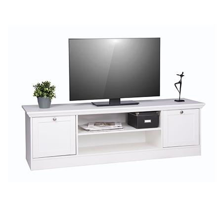 מזנון טלוויזיה לבן עם תאי אחסון ו-2 דלתות