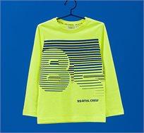 חולצה עם שרוולים ארוכים בהדפס פסים לילדים בצבע צהוב