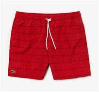 מכנסי בגד ים בהדפס המותג לגברים Lacoste בצבע אדום