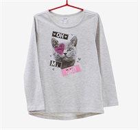 חולצה לילדות עם שרוולים ארוכים והדפס חתול- בצבע אפור בהיר